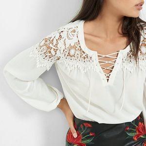 NWOT Lace-Up Crochet Yoke Long Sleeve White Blouse